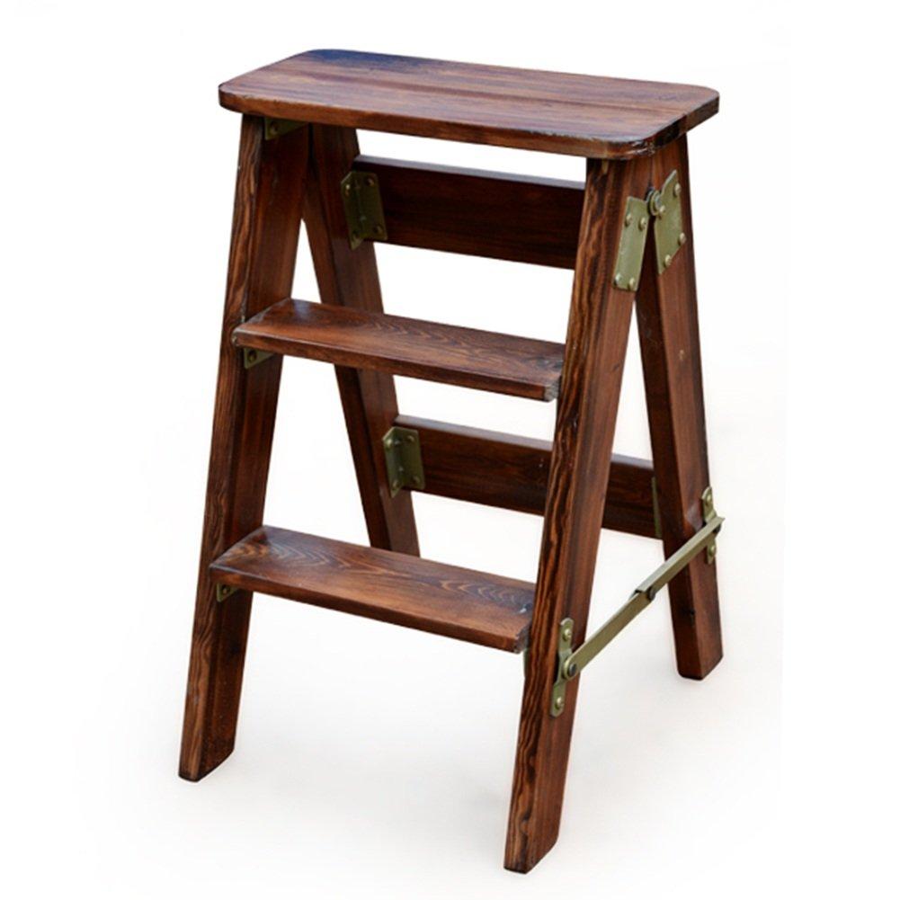 HAIPENG 木製 ベンチ ラダー 高い スツール 椅子 折りたたみ可能 二重使用 ユーティリティ 3色 利用可能 40x20x60cm ( 色 : ブラウン ぶらうん ) B07BW6J19K  ブラウン ぶらうん