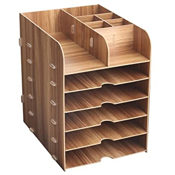 HomJoy - Organizador de escritorio de madera, armario de almacenamiento de suministros de oficina con