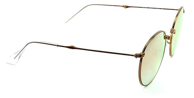 91f7277fce Amazon.com  Ray-Ban RB3532 Round Folding Flash Gradient Unisex Sunglasses (Shiny  Bronze Frame Copper Mirror Gradient Lens 198 7Y