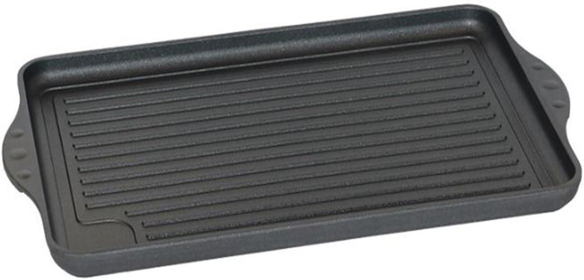Eurolux - Plancha rectangular para inducción (43 cm, aluminio fundido resistente al calor, con base acanalada): Amazon.es: Hogar