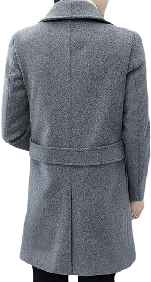 ONTBYB Mens Double Breasted Windproof Outdoor Wool Blend Mid Long Trench Coat