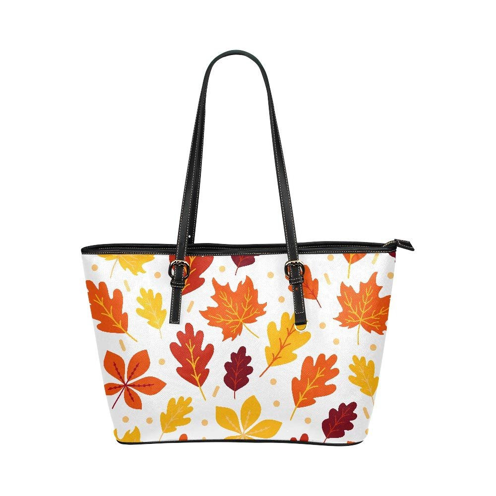 Autumn Golden Fall Maple Leaves Large Soft Leather Portable Top Handle Hand Totes Bags Causal Handbags With Zipper Shoulder Shopping Purse Luggage Organizer For Lady Girls Womens Work