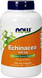 NOW Supplements, Echinacea (Purpurea Root) 400 mg, Immune System Support*, 250 Veg Capsules