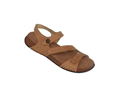 La Plume Maple Womens Leather Open Toe Sandals (39, Tan)