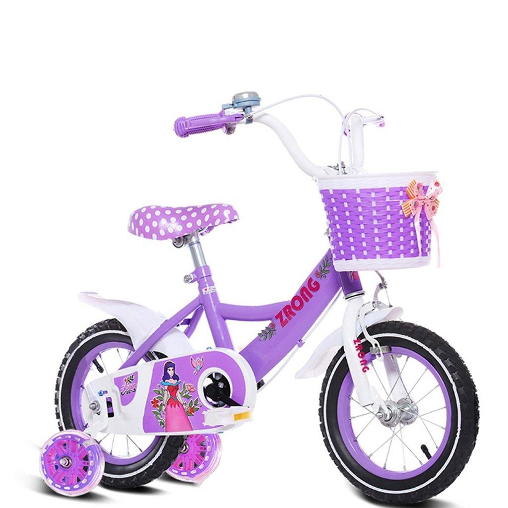 Xiaoping Bicicletas para niños, 3-8 años de edad, ciclismo en bicicleta, triciclo para niños, con asiento trasero (Color : Purple 14 Inch)