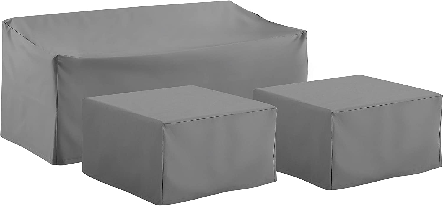 Crosley Furniture MO75013-GY Heavy-Gauge Reinforced Vinyl 3-Piece Furniture Cover Set (Sofa, 2 Square Table/Ottoman), Gray