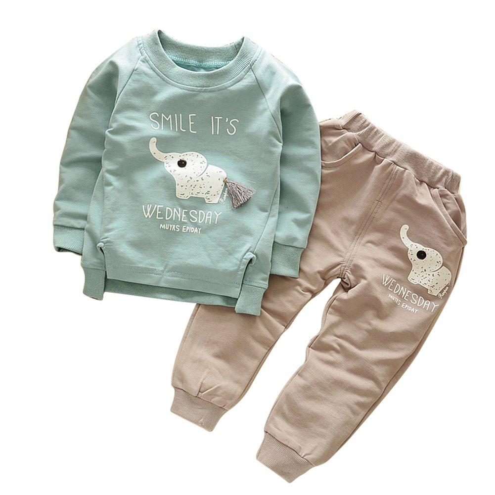 heaven2017 2Pcs Lovely Elephant Pattern Children Kids Boys Long Sleeve Top Pants Outfit Set