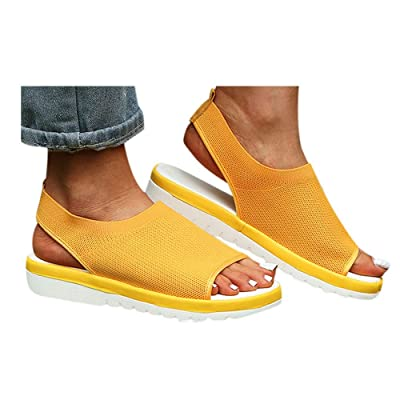 Hemlock Women Open Toe Shoes Flats Sandals Breathable Mesh Shoes Summer Ladies Sandals Wedges Outdoor Beach Shoes: Clothing