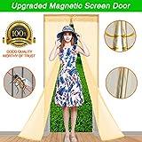 WELOVE 83'' X 35'' Mesh Hands-Free Screen Door Net Magnetic Anti Mosquito Bug Automatic Closing Door Curtain Home Decor (Beige)