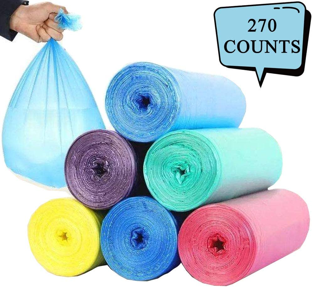 Kitchen Trash Bags Garbage Bags, 270 Counts 6-8 Gallon Wastebasket Bin Liners Can Plastic Trash Bags for Kitchen Bedroom Bathroom Home Office Trash Can (50cmx60cm 9Rolls, 30Counts/Roll)
