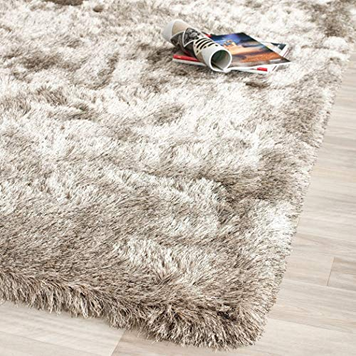 (UN3 3' x 5' Handmade Silken Glam Paris Shag Sable Brown Area Rug, Polyester Versatile Sophisicated Perisian Soft Silky Solid Furry Fuzzy Contemporary, Rectangular Entryway Living Room Accent Carpet)