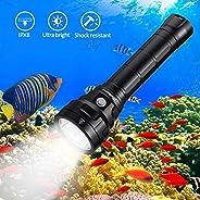 Wurkkos 5000 Lumen Dive Flashlight, Bright Scuba Diving Light Features 4 Samsung LH351D, Depth 492ft Underwate
