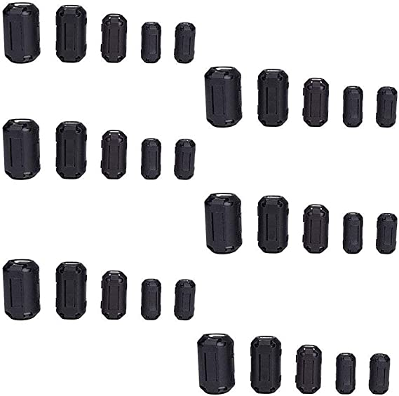 Taigoehua 27 Pieces RFI EMI Noise Suppressor Cable Clip for 3mm// 5mm// 7mm// 9mm// 13mm Diameter Cable with 40X24X16mm Ferrite Ring Toroid core Iron Black