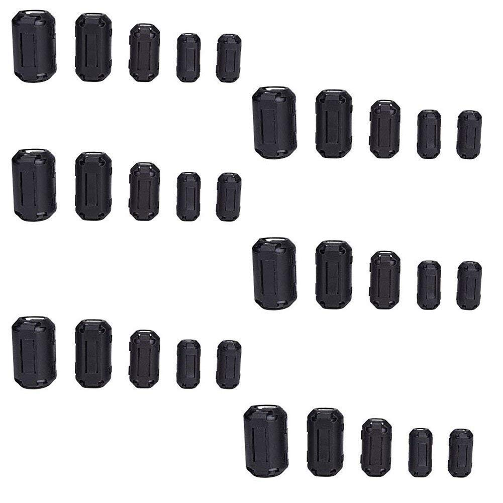 QPOWER Clip-on Ferrite Ring Core RFI EMI Noise Suppressor Cable Clip for 30 Pcs in 5 Size(3.5mm/5mm/7mm/9mm/13mm) Diameter Cable-Black