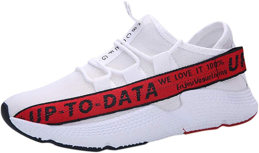 39, Red Mens Breathable Sneakers,Mosunx Athletic Boys Mesh Lightweight Lace Up Sport Running Shoes Trend Wild Fashionable Movement Shoes