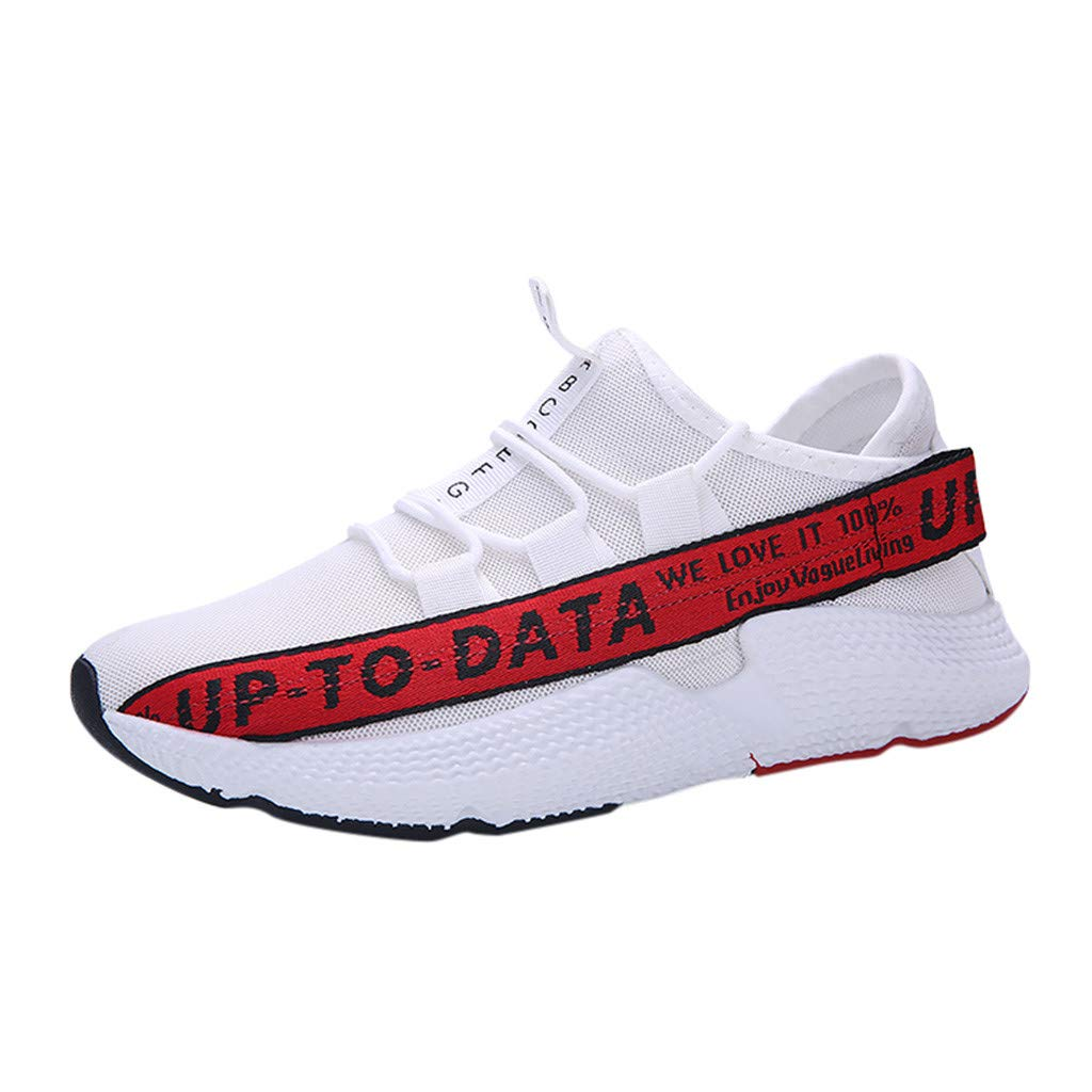 Men's Stylish Fashion Sneakers - Casual Ultra Light Breathable Mesh Shoes Summer Sport Walking Running Jogging Shoe (Red, US:7.5) by Cealu