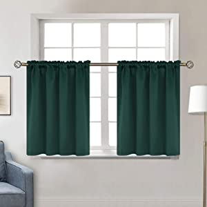 BGment Small Window Room Darkening Curtains for Kitchen- Thermal Insulated Tier Valance Curtain for Bedroom, 42 x 36 Inch, 2 Panels, Emerald