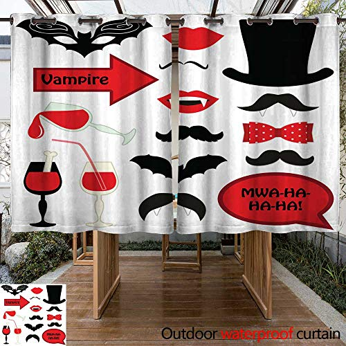 RenteriaDecor Outdoor Balcony Privacy Curtain Cute Set of Halloween Vampire Photo Booth Props W96 x -
