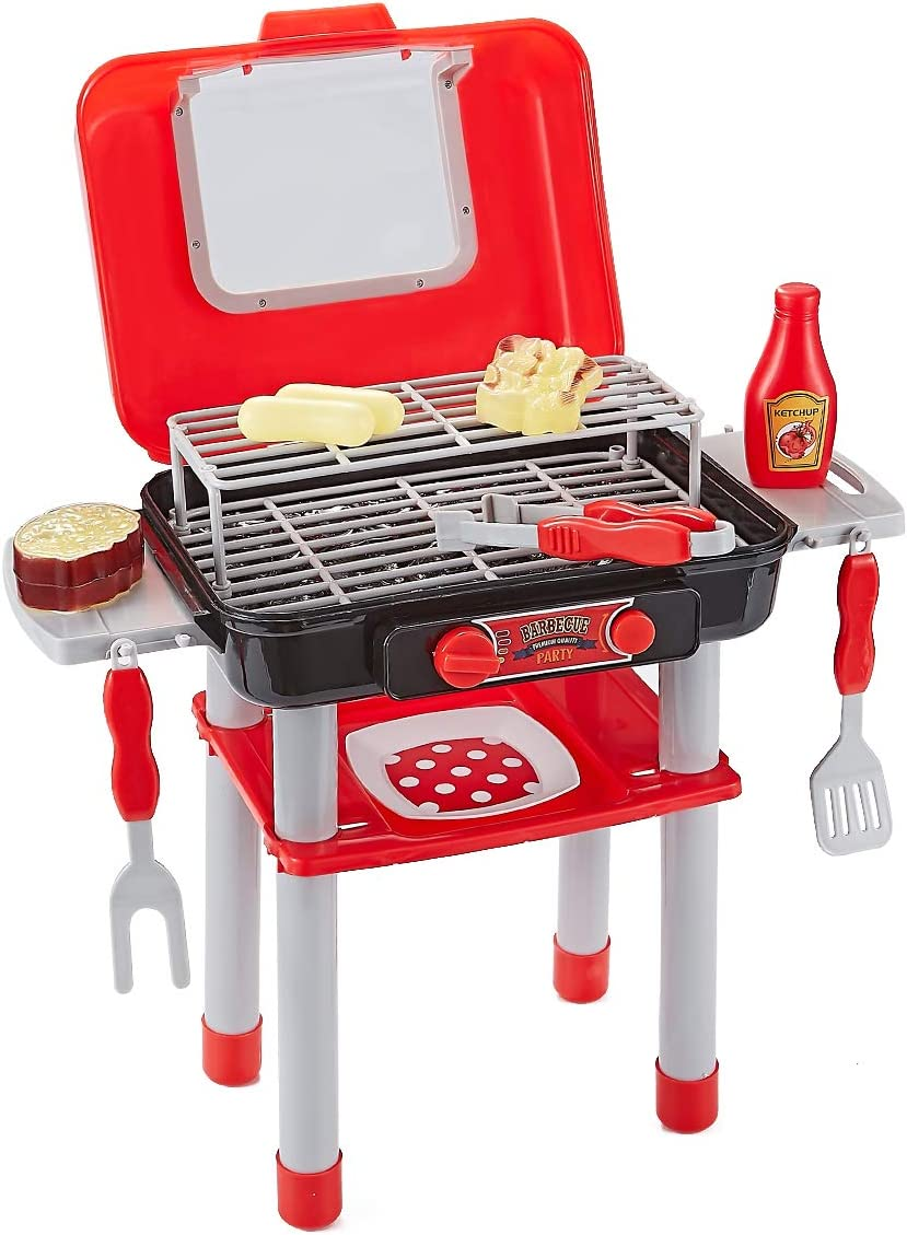 Think Gizmos Cocina Infantil Tipo Barbacoa portátil para Juegos de imaginación - Incluye Plancha Cocina con Efecto Luminoso - Set Completo de barbacoas de carbón Ideal Juguetes niños 3 años y más
