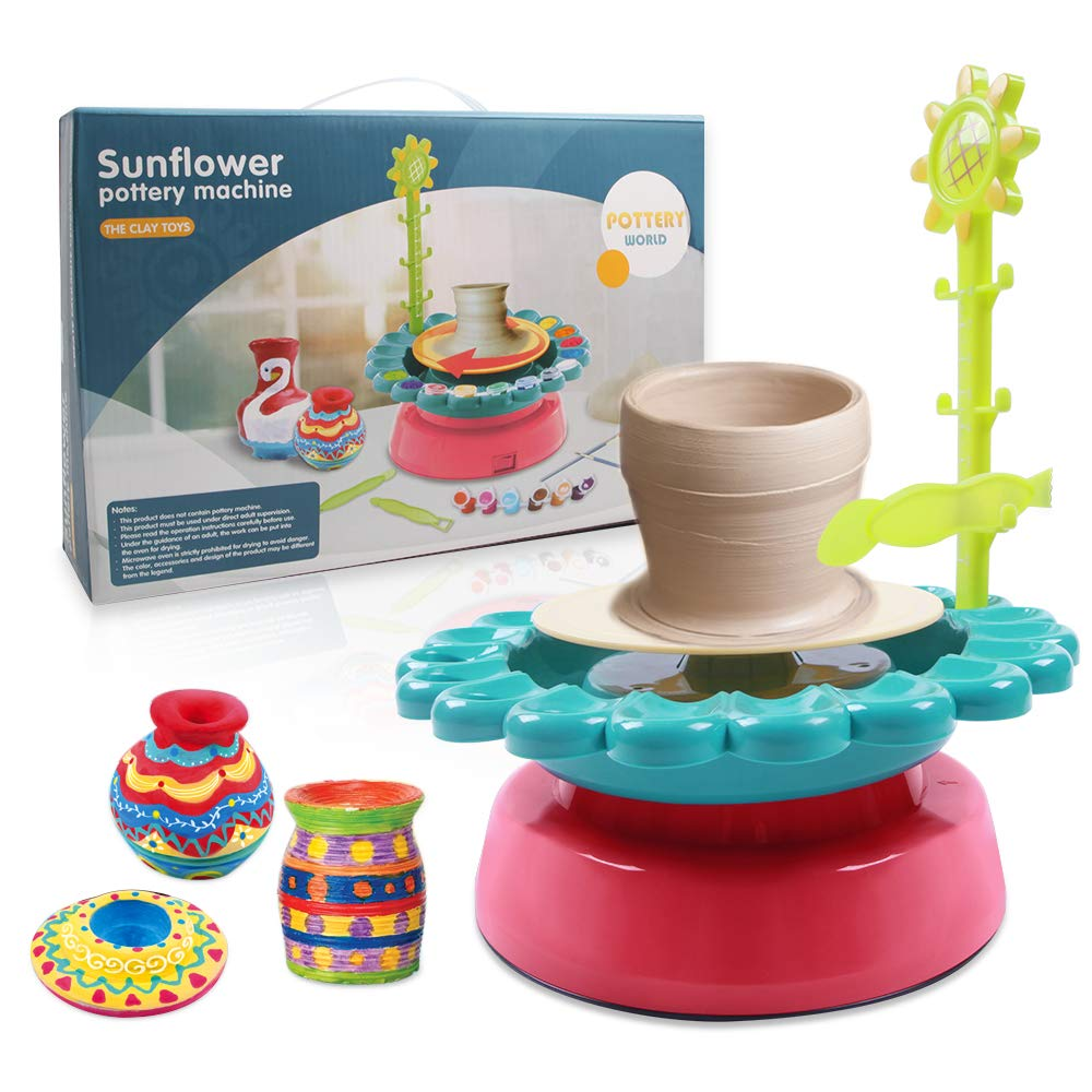 Mookis Sunflower Pottery Wheel - DIY Air Dry Sculpting Clay and Craft Paint kit for Kids Aged 8 and Up - Electric Ceramic Wheel Machine with 2 Clay, Educational Toys Kids Crafts