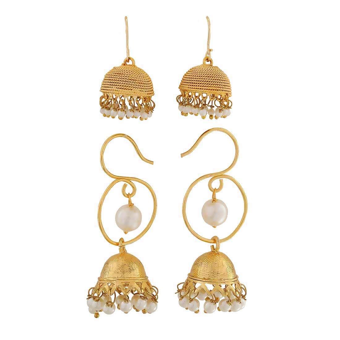 Maayra Double White Combo Wedding Festival Jewellery Jhumki Earrings
