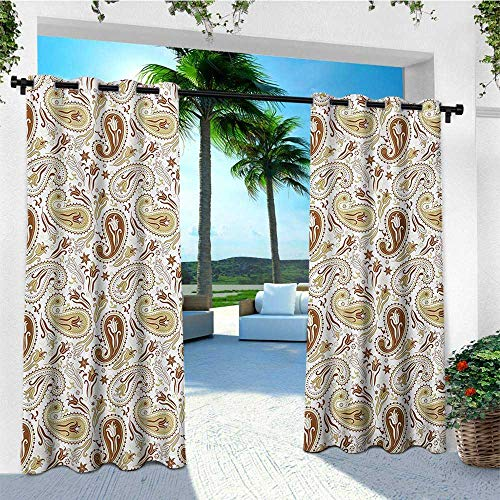 (leinuoyi Paisley, Outdoor Curtain Ties, Floral Patterns with Paisley Inspired and Tulips Persian Hippie Art, Outdoor Curtain Panels for Patio Waterproof W108 x L96 Inch White Chocolate Umber)