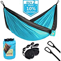 LATTCURE Double Camping Hammock, Lightweight Portable...