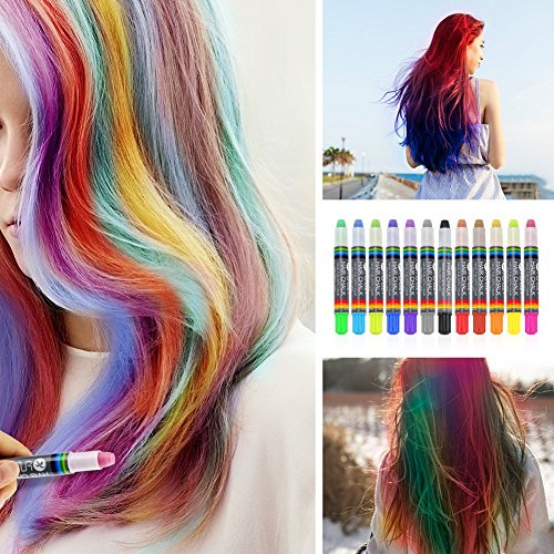 FUNDIY Kids Hair Chalk Set Hair Chalk Pens of 12 Brilliant Colors - Temporary Color Washable and Safe for Children - Good Choice for Party, Halloween, Cosplay, Birthday Gift by FUNDIY (Image #6)