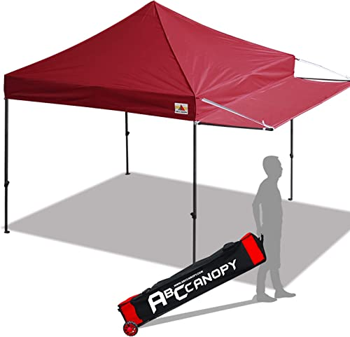 ABCCANOPY 10×10 Tent Pop-up Canopy Tent Instant Canopies Commercial Outdoor Canopy with Awning Wheeled Carry Bag Bonus 4X Weight Bag, Burgundy