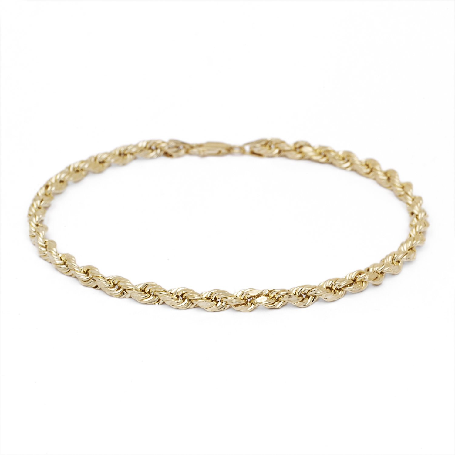 10 Inch Solid Diamond Cut Rope Chain Bracelet and Anklet - 10k Yellow Gold - 3mm (0.12'')