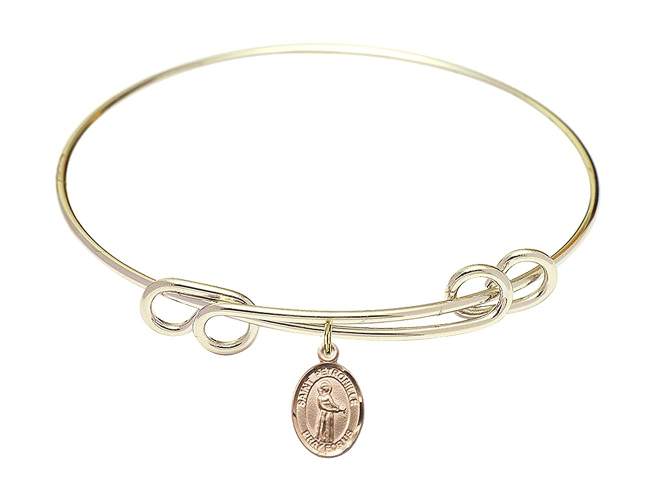 Round Double Loop Bangle Bracelet w//St Petronille in Gold-Filled