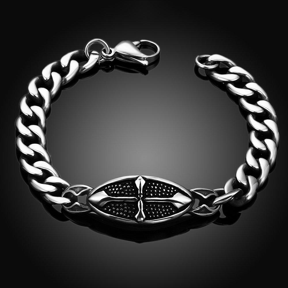 YAZILIND Jewelry Gothic Vintage Cross Titanium Steel Fashion Curb Link Chain Bracelet for Men
