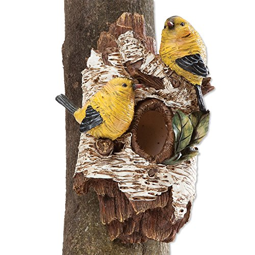 Polyresin Bird (Bits and Pieces - Tree Hanging Birdhouse and Sculpture - Tree Hugger Bird House Made of Durable Weather Resistant Polyresin)