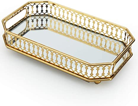Amazon Com Mirror Gold Tray Vanity Perfume Tray With Rectangle Metal For Dresser Bathroom Bedroom Countertop Organizer Small Size 9 5 X5 5 X2 2 Kitchen Dining