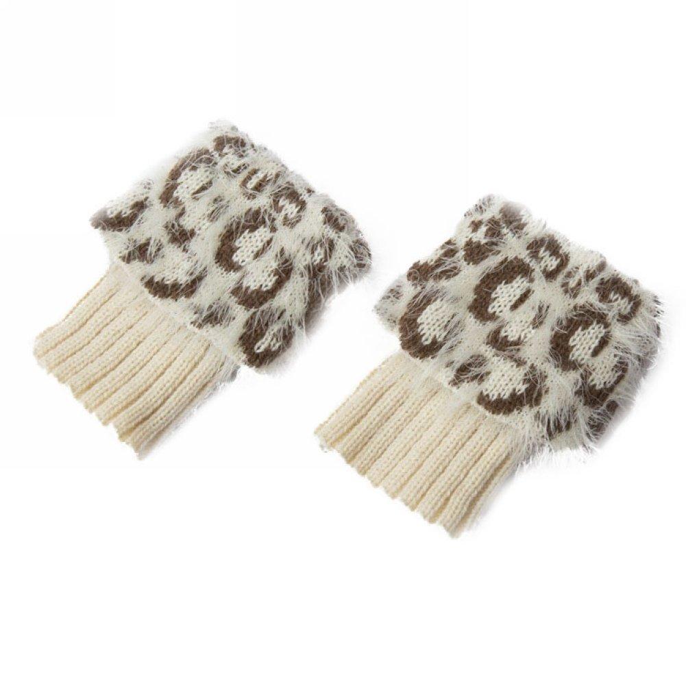 Women Fashion Leopard Faux Fur Boot Cuff Short Knitted Topper Leg Warmers