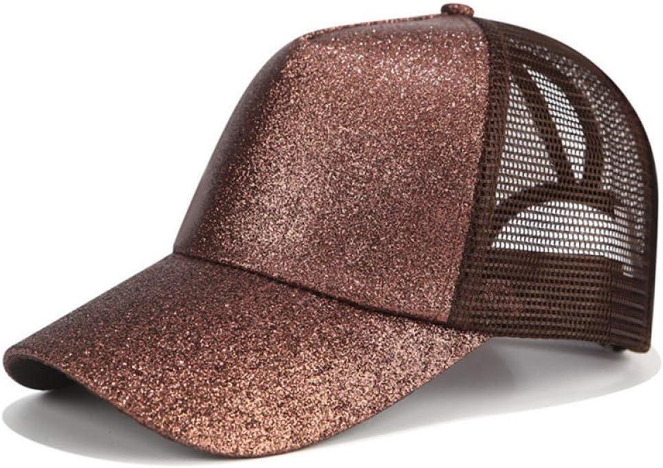 Gbksmm Glitter Ponytail Casquette De Baseball Femmes Papa Chapeau Maille Casquettes De Camionneur Messy Summer Hat Femme R/églable Hip Hop Chapeaux-Glitter Black/_Pas De Logo