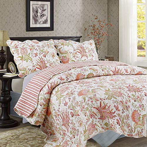 - Cozy Line Home Fashions Flowers Paradise Coral Red Green 2-Piece Bedding Quilt Set with 1 Standard Sham, All Season Print Pattern Coverlet, Bedspread, 100% Cotton, Reversible (Coral, Twin - 2 Piece)
