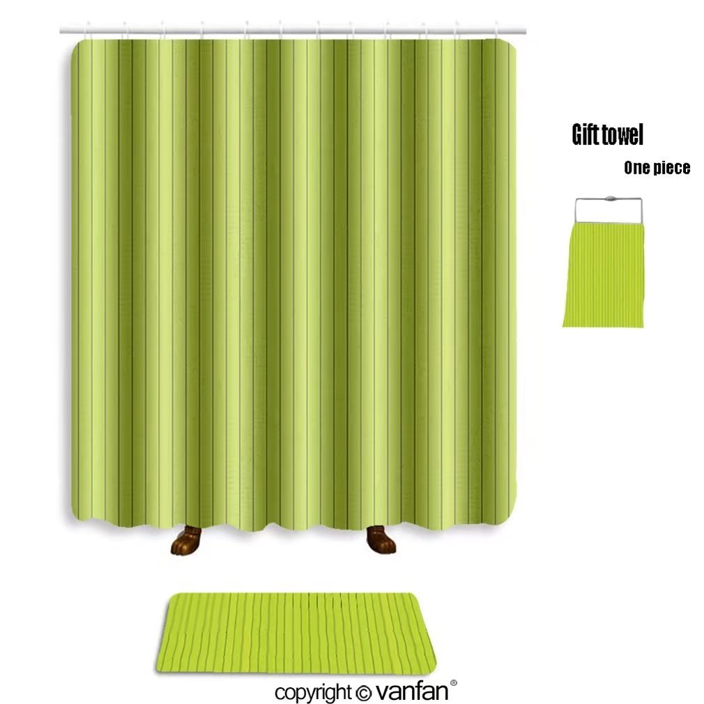 vanfan bath sets Polyester rugs shower curtain seamless green wood texture 131617223 shower curtains sets bathroom 72 x 96 inches&31.5 x 19.7 inches(Free 1 towel 12 hooks)