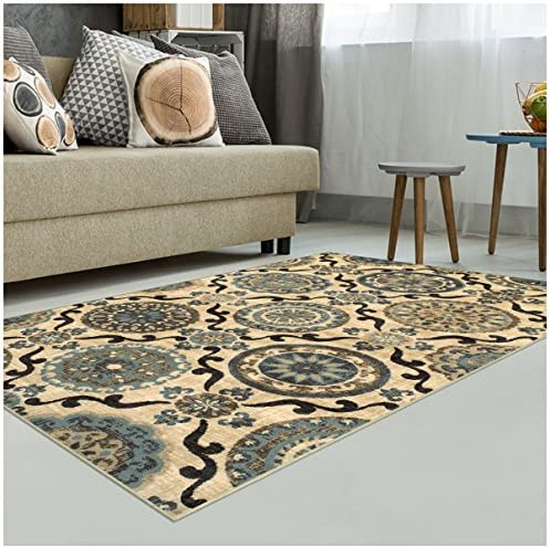 Superior Abner Collection Area Rug, 10mm Pile Height with Jute Backing, Fashionable and Affordable Rugs, Beautiful Scrolling Medallion Pattern – 8 x 10 Rug, Cream with Blue and Beige