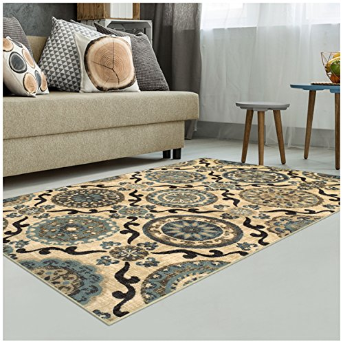 Superior Abner Collection Area Rug, 10mm Pile Height with Jute Backing, Fashionable and Affordable Rugs, Beautiful Scrolling Medallion Pattern – 5′ x 8′ Rug, Cream with Blue and Beige For Sale