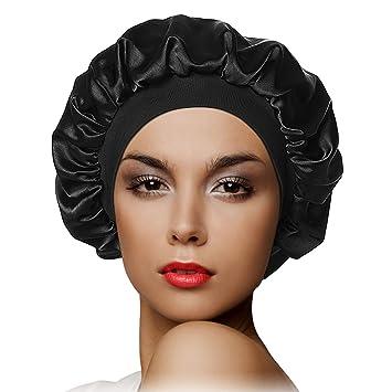 US Black Women Satin Night Sleep Cap Hair Satin Reversible Hat Silk Head LARGE