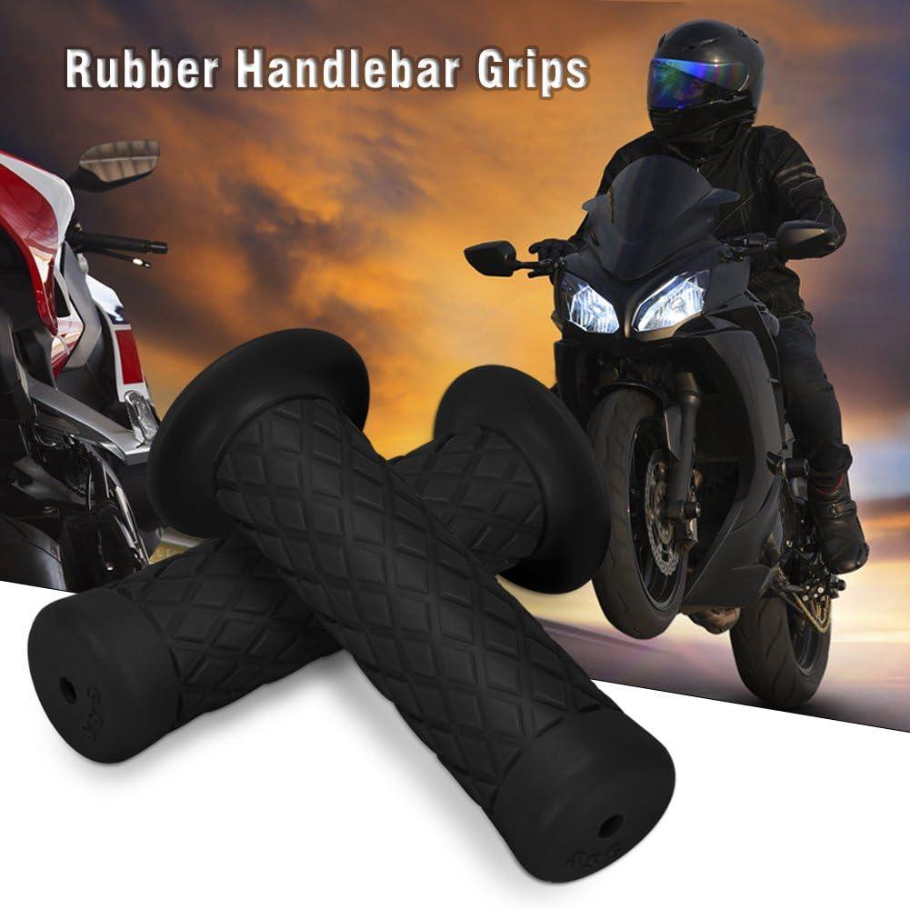 Universal Motorcycle Handlebar Grips Antiskid Bar End Rubber Gel Handlebars for Motor Black 2 pcs//Pair Rubber Motorcycle Hand Grips 7//8 22mm Dirt Bike Rhombic Grids Style