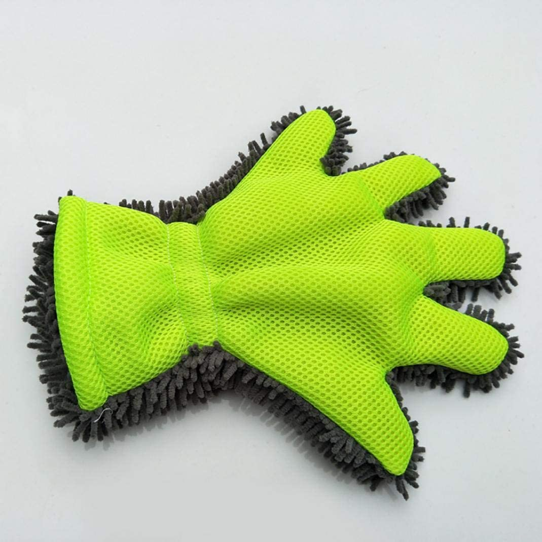 Green YESZ Microfiber Drying Towels for Cars Grey Car Care Wash Glove Cleaning Tool Window Door Chenille Coral Shape Soft Washer