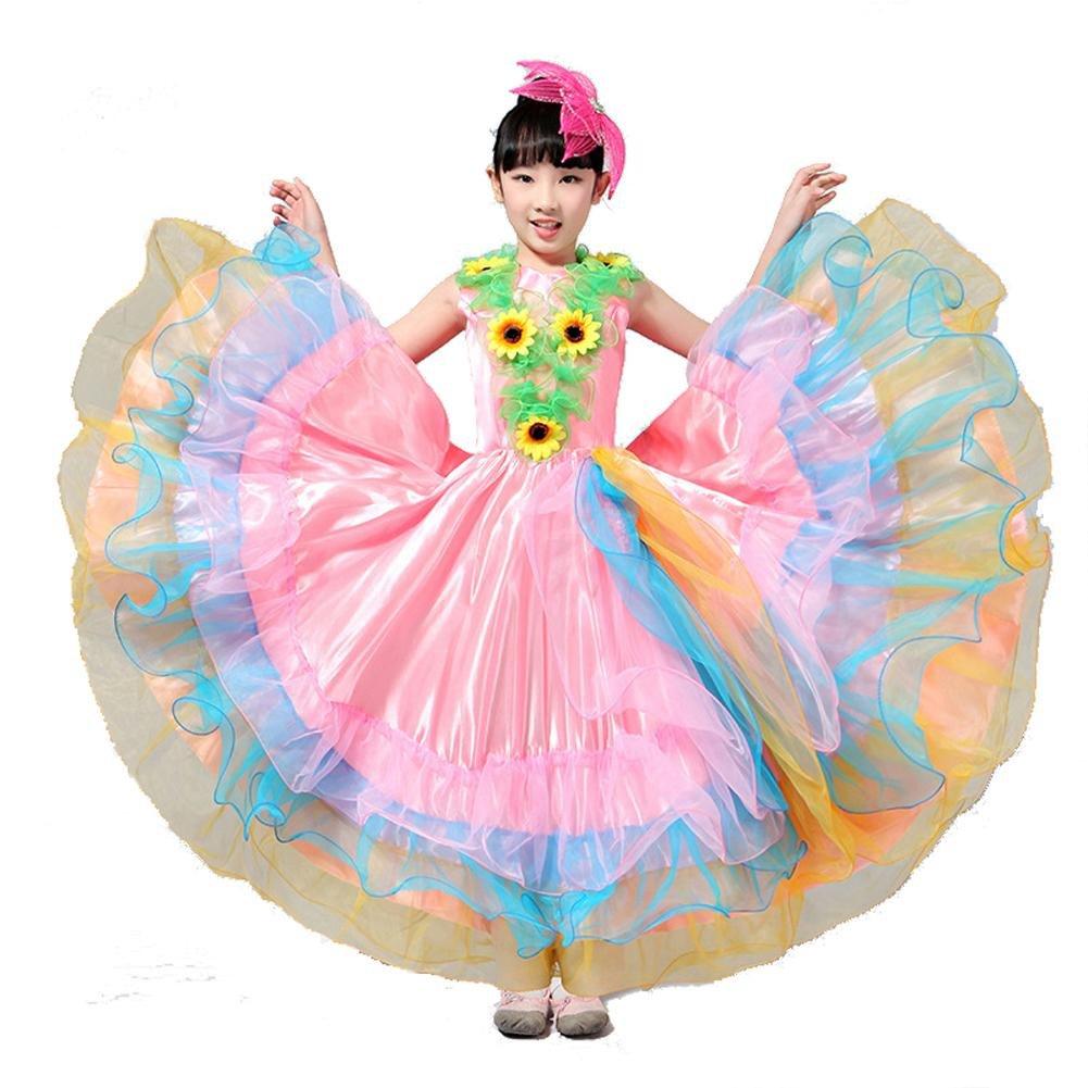 Rose skirt 180 Byjia Enfants Robes De Flamenco Show Costume Jupe Danse Moderne Bull Girl 180 360 540 720 Degrés Perforhommece Big Swing Chorus 140cm