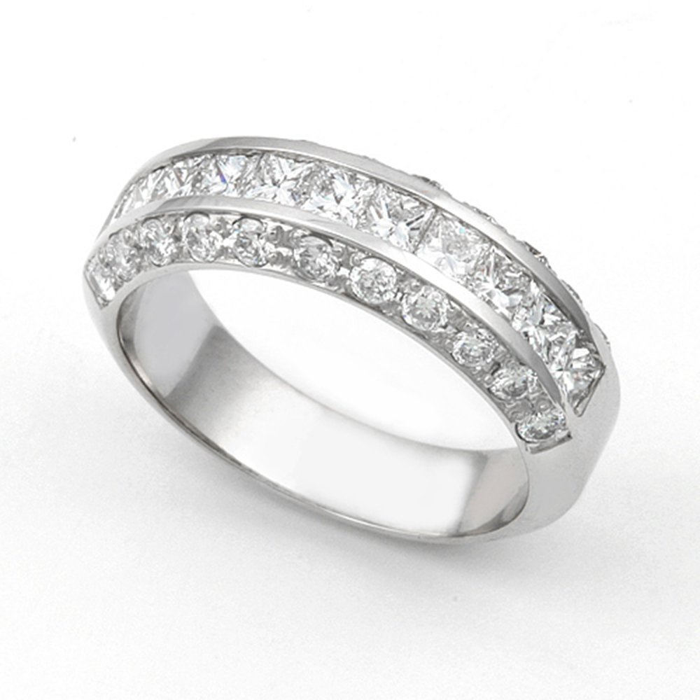 14k White Gold Channel and Pave set Diamond Band Ring (G-H/VS, 1 1/3 ct.), 7.5