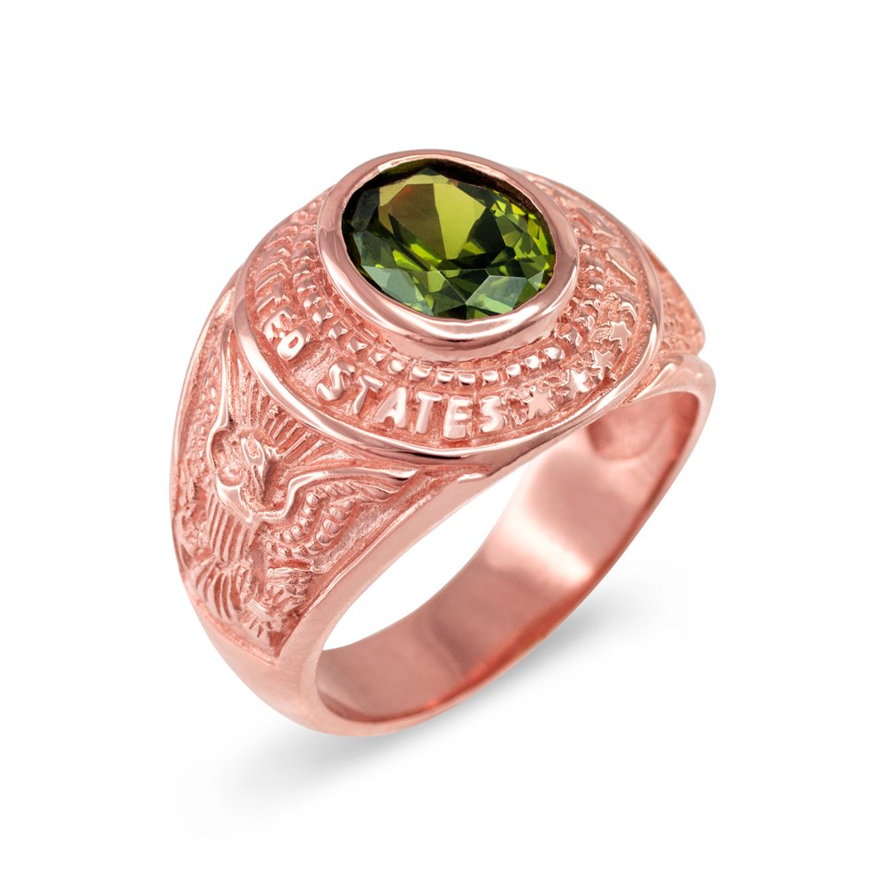 August CZ Birthstone US Army Men\'s Ring in Solid 10k Rose Gold ...