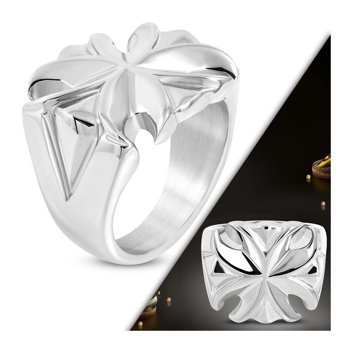 Stainless Steel Fluer De Lis Flower Cocktail Ring