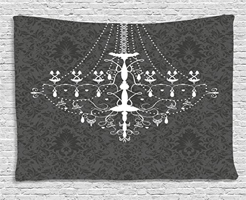 Vintage Tapestry by Ambesonne, Victorian Baroque Stylized Nostalgic Chandelier on Damask Background Rococo Design, Wall Hanging for Bedroom Living Room Dorm, 80WX60L Inches, Grey White
