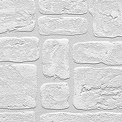 "Manhattan Comfort NW48915 Andrew Series Vinyl Textured Paintable Bricks Design Large Wallpaper Roll, 21"" W x 33'L, White"