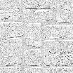 "Manhattan comfort NW48915 Andrew Series Vinyl Textured Paintable Bricks Design Large Wallpaper Roll, 21"" W x 33' L, White"